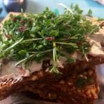 Jarní svačinka: raw chleba s fermentovaným kešu sýrem a řeřichou